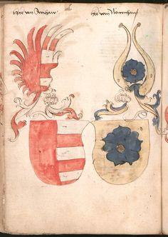 Wernigeroder (Schaffhausensches) Wappenbuch Süddeutschland, 4. Viertel 15. Jh. Cod.icon. 308 n  Folio 187v
