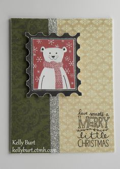 CTMH Christmas Card using Yuletide Carol paper, October SOTM, and Be Jolly Hostess stamp.