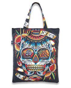 Underground Store, Gothabilly, Large Tote, Sugar Skull, Punk Rock, Canvas Tote Bags, Old School, Diaper Bag, Handbags