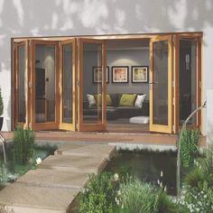 Folding Patio Doors Oak Bifold Doors, Bifold Doors Onto Patio, Folding Patio Doors, Sliding Door, Timber Windows, Timber Door, Windows And Doors, Interior Barn Doors, Exterior Doors
