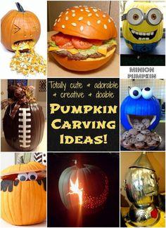 Totally cute & adorable & creative & doable pumpkin carving ideas!!