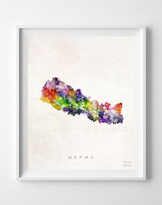 Nepal Map Asia Print Kathmandu Watercolor Home by InkistPrints
