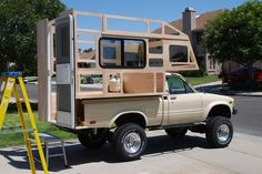 Great Conversion Camper Trailer Homemade – Vanchitecture – Famous Last Words Truck Bed Camping, Truck Camping, Tent Camping, Camping Outdoors, Outdoor Camping, Mini Camper, Camper Van, Pickup Camper, Camper Trailers