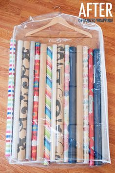 15 Ridiculously Smart Organization Hacks - Store wrapping paper in a clear garment bag and hang in a closet. I missed getting a storage bag in the sales, so I will try this :) Organisation Hacks, Storage Hacks, Craft Organization, Craft Storage, Storage Ideas, Closet Organization, Gift Bag Storage, Dollar Tree Organization, Ornament Storage