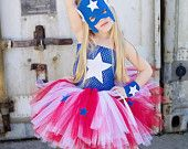 Artículos similares a Chicas de superhéroe inspiraron Vestido de tutu y traje en rojo, azul y blanco en Etsy