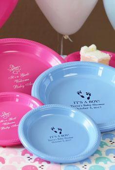 An easy way to decorate the appetizer and dinner tables, serve guests food at your baby shower on cute personalized plates. These disposable plastic plates make clean-up a breeze and are much cuter than basic paper plates. A must-have for decorating the buffet table and cake table. Custom printed with a cute baby design and your own special message. To order these plates visit http://www.tippytoad.com/personalized-plastic-baby-shower-plates.asp