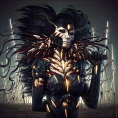 intense cyberpunk art by Alexander Fedosov 3d Fantasy, Fantasy Kunst, Fantasy World, Dark Fantasy, Arte Sci Fi, Sci Fi Art, Art Science Fiction, Sci Fi Kunst, Arte Obscura