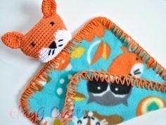 Fox Fleece Lovey Fox Baby Blanket Security Blanket Ready by EkayG, $16.00