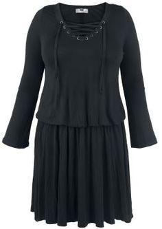Mittellanges Kleid von Black Premium by EMP  - Schnürung lockert das Design auf - mit ausgestellten, langen Ärmeln - angenehmer leichter Stoff - schmaler Gummizug in der Taille  Chic muss nicht immer unbequem sein: Das Corded Swing Dress von Black Premium by EMP verbindet elegantes Design mit einer gemütlichen Passform. Ein schmaler, elastischer Gummizug betont auch in großen Größen deine Taille auf dezente Art. Die Schnürung über dem Ausschnitt kaschiert, ohne dabei unnötig zu verdecken.