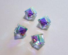 Swarovski Crystal AB 3/4 Cubes