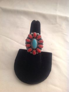 Navajo turquoise and red coral handcrafted ring size 9.75