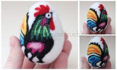 pisanki z filcu - Szukaj w Google Needle Felted Animals, Felt Animals, Needle Felting, Felt Brooch, Egg Decorating, Felt Ornaments, Felt Art, Felt Flowers, Felt Crafts