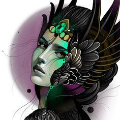 На данном изображении может находиться: 1 человек Girl Face Tattoo, Girl Face Drawing, Female Drawing, Female Art, Tattoo Sketches, Tattoo Drawings, Copic Marker Drawings, Mystical Tattoos, Trash Polka