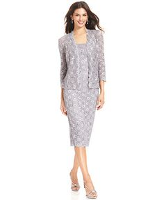 Alex Evenings Sequin Lace Dress and Jacket. Comes in a pretty Taupe color!