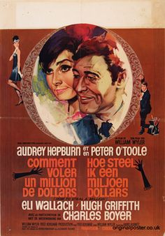 How To Steal a Million with Peter O'Toole and Audrey Hepburn. Belgian movie poster with art by RAY (Raymond Elseviers)