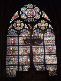 Stained glass windows in the Cathedral Notre Dame de Paris