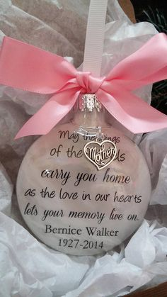 Mom Memorial Keepsake- May the Wings of Angels Carry You Home w/ Mother Heart- In Memory Personalized Keepsake Sympathy Gift Bereavement Homemade Christmas, Diy Christmas Gifts, Christmas Decorations, Christmas Ideas, Christmas Projects, Winter Christmas, Memorial Ornaments, Memorial Gifts, Memorial Quotes