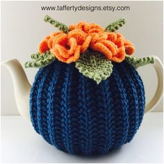 Excited to share this item from my shop: Hand knitted Floral Tea Cosy / Tea Cozy / Teacosy / Teacozy - in Pure Wool - Size Medium - fits standard 6 cup teapots. Wool Yarn, Cosy, Tea Cosies, Cozies, Hand Knitting, Knitted Hats, Crochet Patterns, Arts And Crafts, Pure Products