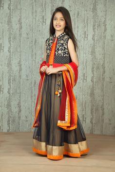 Gray Embroidered Jacket Style Ghagra Choli @ LookGud.in