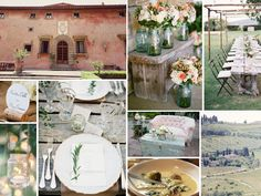 {tuscany} rustic and shabby chic Italian wedding in Tuscany. I love the flower arrangement's and the table settings!