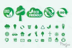 32 Eco Friendly Icons and Labels by Pixejoo on Creative Market