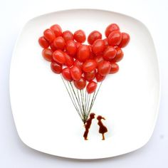 Cherry Tomato Balloons | 13 Incredible Tiny Paintings Made Out Of Food