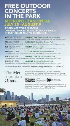 Free Metropolitan Opera outdoor concerts! (July 25- August 9, 2012)