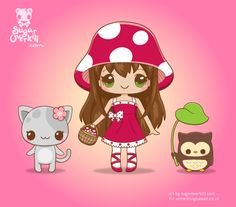 Various Chibi and Kawaii Characters by Michele Liza Kaiser-Pelayre, via Behance Kawaii Doodles, Kawaii Chibi, Cute Chibi, Kawaii Girl, Anime Chibi, Kawaii Anime, Kawaii Illustration, Character Illustration, Kawaii Drawings