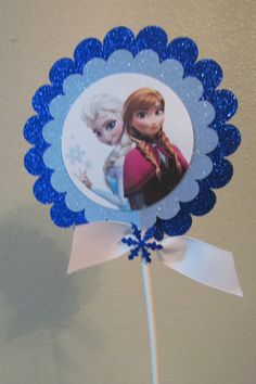 Disney Frozen Princess Anna Elsa Birthday Party Centerpiece Stick or Cake Topper by KhloesKustomKreation, $8.00