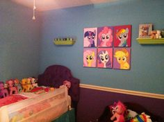 Olivia's big girl my little pony room. Including the ponies I painted and hung on the wall :)