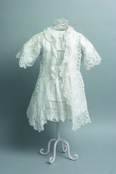 Edwardian child's dress and coat, constructed from hand worked table linens, England, circa 1912