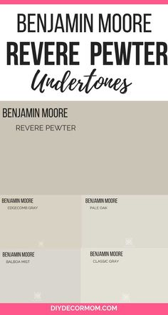 Is Benjamin Moore Revere Pewter the right paint color for your home? See the trick to picking paint colors PLUS how it compares with popular grays! Greige Paint Colors, Neutral Paint Colors, Room Paint Colors, Exterior Paint Colors, Paint Colors For Living Room, Paint Colors For Home, Gray Paint, Exterior Design, Pewter Paint