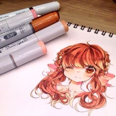 No photo description available. Copic Drawings, Kawaii Drawings, Cute Drawings, Copic Marker Art, Copic Art, Copic Markers, Amazing Drawings, Beautiful Drawings, Manga Drawing