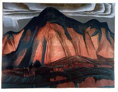 Burning Mountain by Murray Griffen - Coloured linocut printed from multiple blocks.