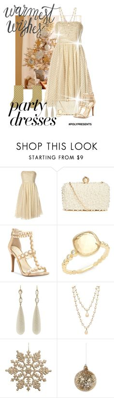 """""""#PolyPresents: Party Dresses"""" by shamrockclover ❤ liked on Polyvore featuring Notte by Marchesa, GUESS by Marciano, Jessica Simpson, Michael Aram, Sylva & Cie, Chanel, Shishi, Marimekko, contestentry and polyPresents"""