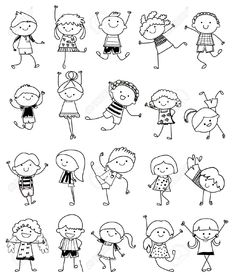 Hand Drawing Cartoon Happy Kids Playing Stock-Vektorgrafik (Lizenzfrei) 148705529 - Group of kids,drawing sketch You are in the right place about kids videos Here we offer you the mos -
