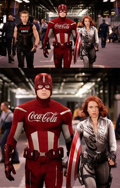 Coca-Cola Captain America, Hawkeye and Black Widow - Sponsored Heroes by Roberto Vergati Santos, via Behance