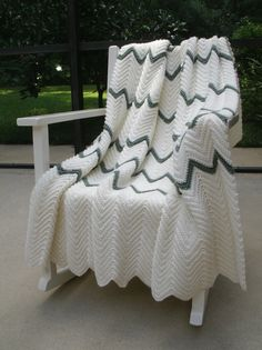 Zig Zag Crochet Blanket cream and Ocean Green by BrywoodBoutique, $70.00