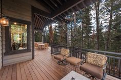 This mountain home, designed for and built in the Pine Mountain area of Kamas, Utah. Every effort was made to preserve the existing vegetation around the home, so the entry and presentation of the home is impeccably impressive. Entering the home, you will find high, vaulted ceilings,and an abundance of exposed-timber framing, creating an equally striking view on the interior. Large common areas, built-in bunk beds, and patio space make this home a perfect family retreat. #cabin #patio Custom Home Builders, Custom Homes, Bunk Beds Built In, Outdoor Rooms, Outdoor Decor, Pine Mountain, Lake Cabins, Common Area, Real Estate