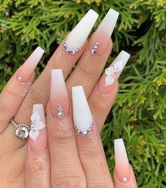 Phenomenal Ombre Nail Art Designs Ideas for This Year Part 3 ; ombre nail ideas 2019 nail design Phenomenal Ombre Nail Art Designs Ideas for This Year Part 3 Glam Nails, Bling Nails, Bling Nail Art, Ombre Nail Designs, Nail Art Designs, White Nail Designs, Nail Art Ongles En Gel, Nail Polish, Milky Nails