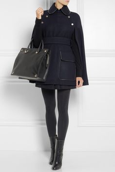 Victoria Beckham Denim coat, Equipment top, Pamela Love ring, Victoria Beckham Denim skirt, Falke tights, Gucci boots, Valentino bag.