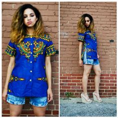 """Vintage cobalt blue dashiki with yellow buttons. Gorgeous design on fabric! This dashiki is cut more feminine and is very lightweight. Perfect condition,  just like new! So dope! I love it!  Size M/L Bust 42"""" $24 shipping included in price  Leave email for invoice SOLD!!"""