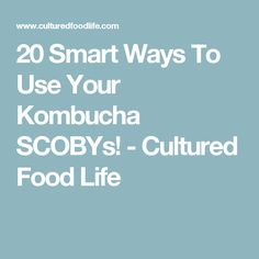 20 Smart Ways To Use Your Kombucha SCOBYs! - Cultured Food Life