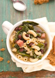 black bean and pasta soup with spinach - substitute quinoa elbows for whole wheat