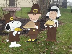 Charlie Brown Sally and Snoopy Thanksgiving Yard Art  Charlie is 35 inches Sally 34 inches and Snoopy is 30 inches  **All of my Yard Art is made out of 1/2 inch MDO sign board. This is a special product that is specifically made for outdoor use. It is more expensive than plywood but will easily withstand rain and snow and is extremely sturdy. Any type of plywood or any other wood used for outdoor yard art will eventually warp and the paint will peel.***  All of my Yard Art:  -Hand drawn ...