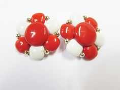 Vintage Red and White Flower Clip on Earrings  by EtagereAntiques