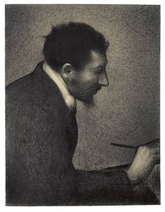 Drawing of the artist Aman-Jean by Georges Seurat, 1883, Conté crayon on paper