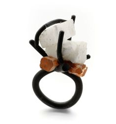Catalina Brenes Ring: Untitled, 2010 Oxidized silver, Aragonite, Carrara Marble 4,5 x 2,5 x 1 cm