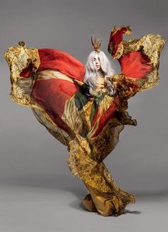 lady gaga by nick knight. She looks like a deranged butterfly caught in a firestorm.