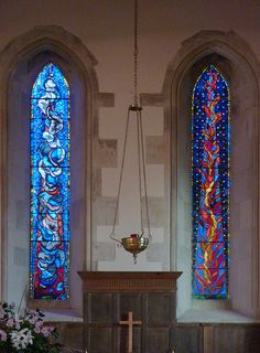 Hinton Ampner, All Saints, East window, The Pillar of Cloud and the Pillar of Fire by Patrick Reyntiens by gordonplumb, via Flickr